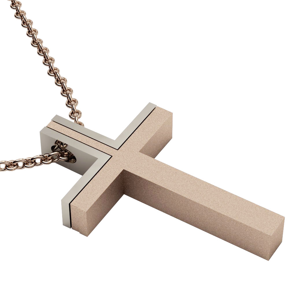 Dichromate Triple Cross 2, made of 14 karat gold / white-rose-white