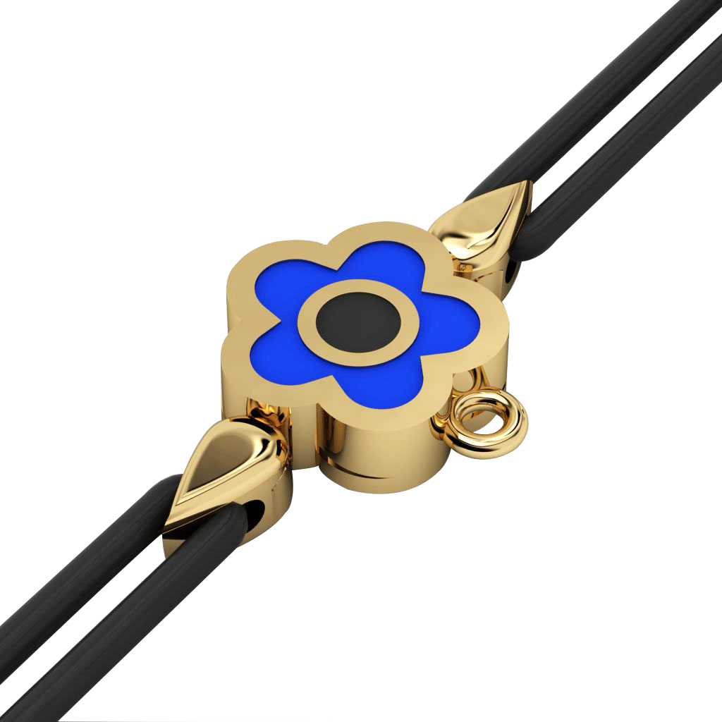 Daisy Evil Eye Macrame Charm Bracelet, made of 925 sterling silver / 18k gold  finish with black and blue enamel – black cord