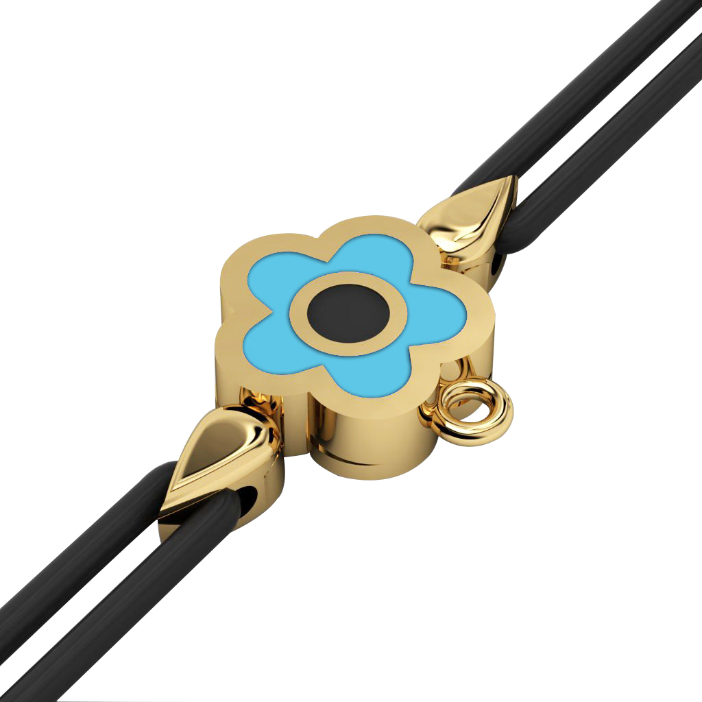 Daisy Evil Eye Macrame Charm Bracelet, made of 925 sterling silver / 18k gold  finish with black and turquoise enamel – black cord