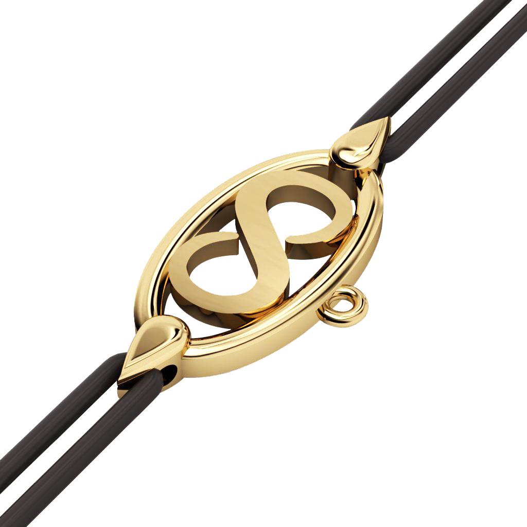Infinity Macrame Charm Bracelet,, made of 925 sterling silver / 18k gold finish – black cord
