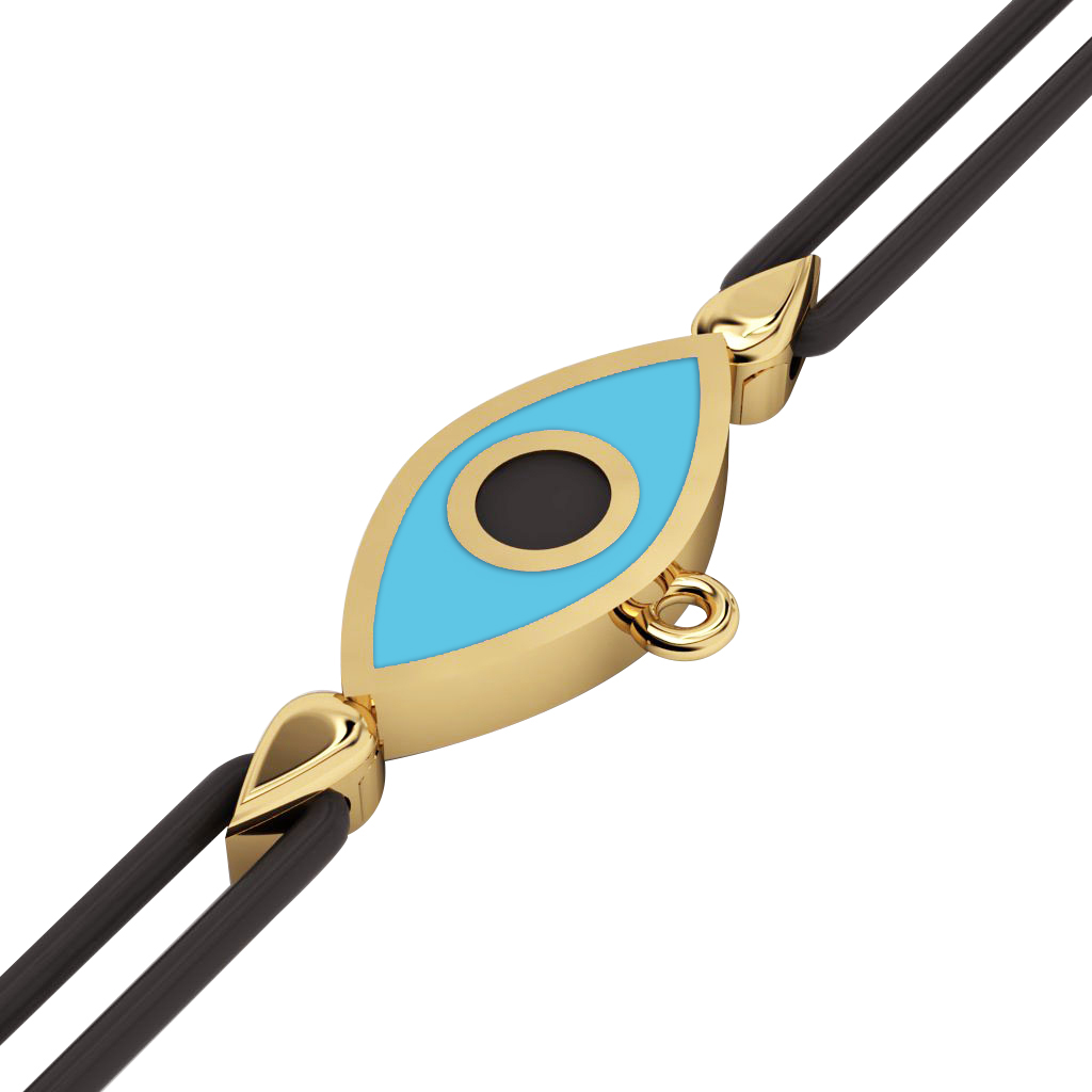 Navette Evil Eye Macrame Charm Bracelet, made of 925 sterling silver / 18k gold  finish with black and turquoise enamel – black cord
