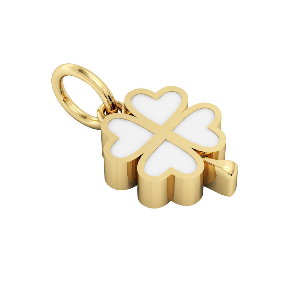Big Quatrefoil Pendant, made of 925 sterling silver / 18k gold finish with white enamel