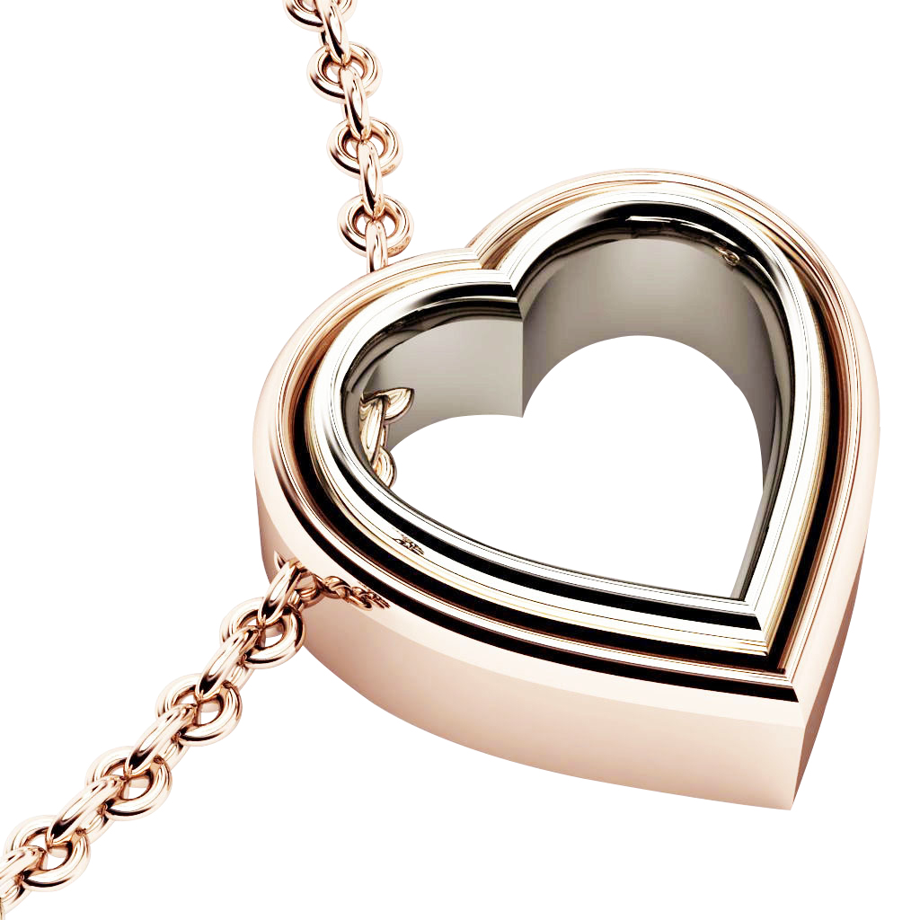 Twin Heart Necklace, made of 925 sterling silver / 18k rose & white gold finish