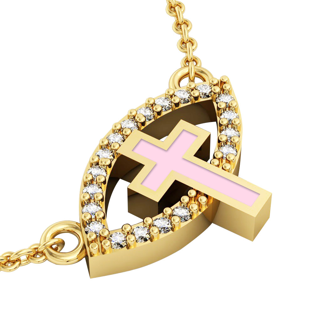 Cross Evil Eye Necklace, made of 925 sterling silver / 18k gold finish with pink enamel and white zircon