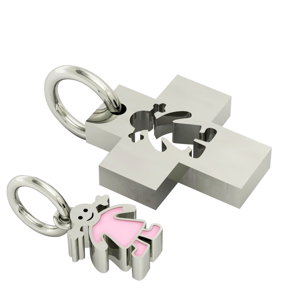 little cross with girl, father and daughter cobo pendant, made of 925 sterling silver with pink enamel / 22