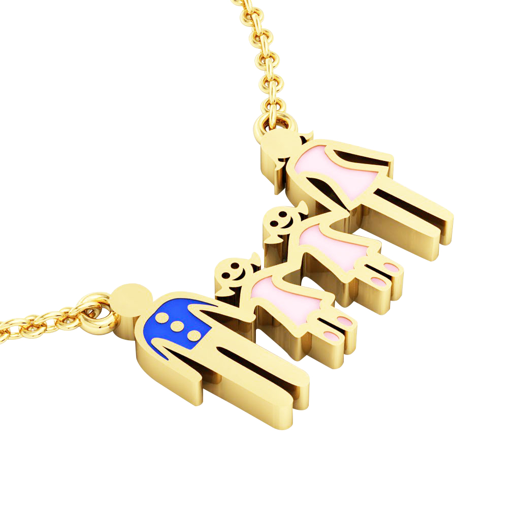4members Family necklace, father – 2 daughters – mother, made of 925 sterling silver / 18k gold finish with blue and pink enamel