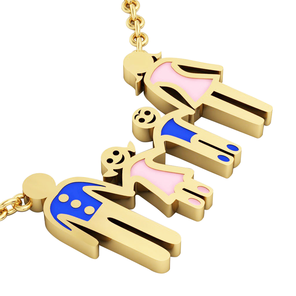 4-members Family necklace, father - daughter - son – mother, made of 925 sterling silver / 18k gold finish with blue and pink enamel