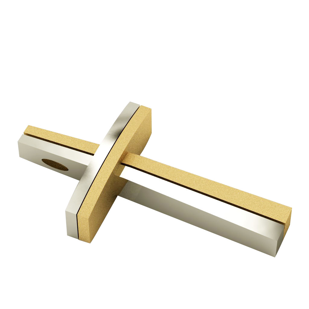 Dichromate Quatern Cross 13, made of 925 sterling silver  / white-gold