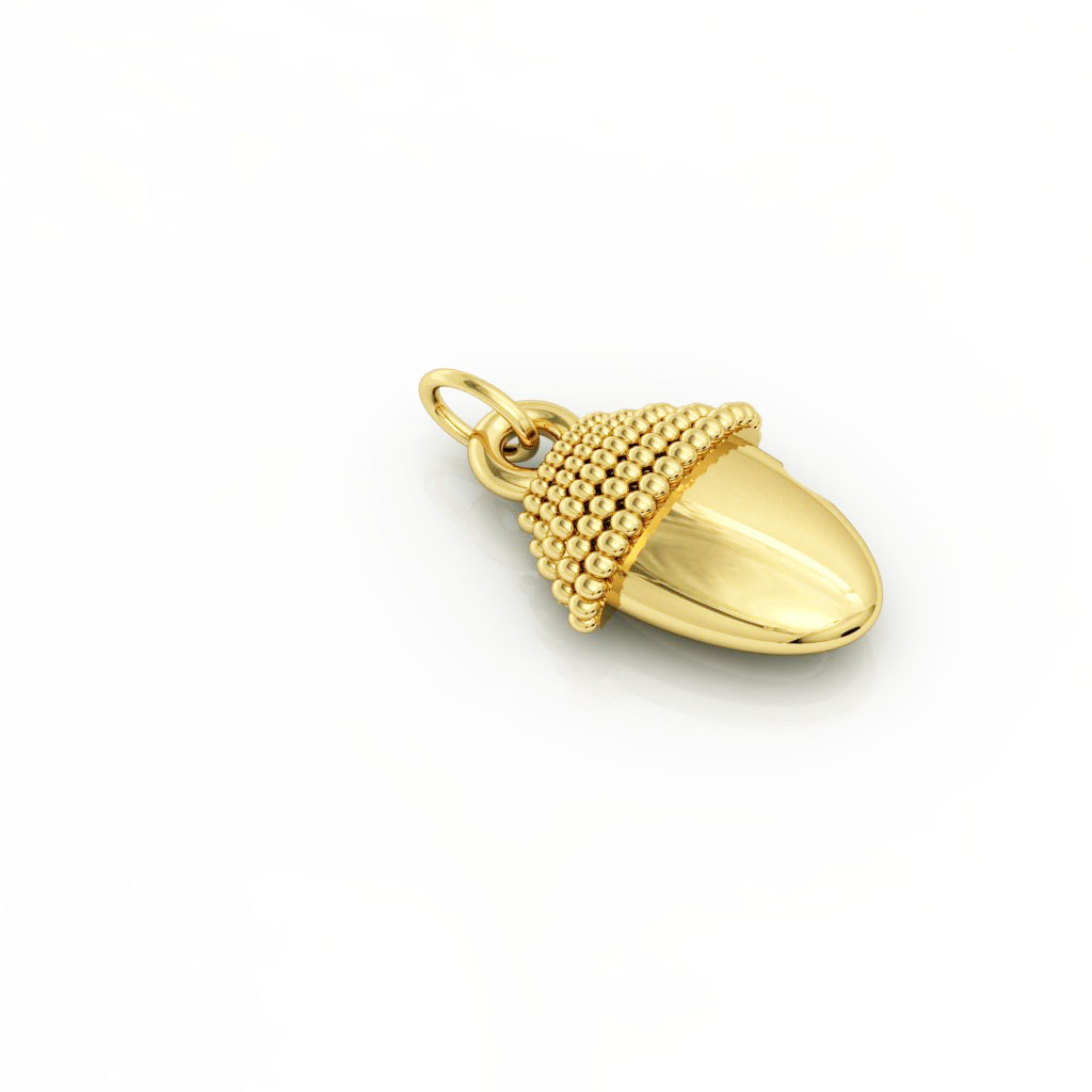 Small Acorn pendant, made of 925 sterling silver / 18k gold finish