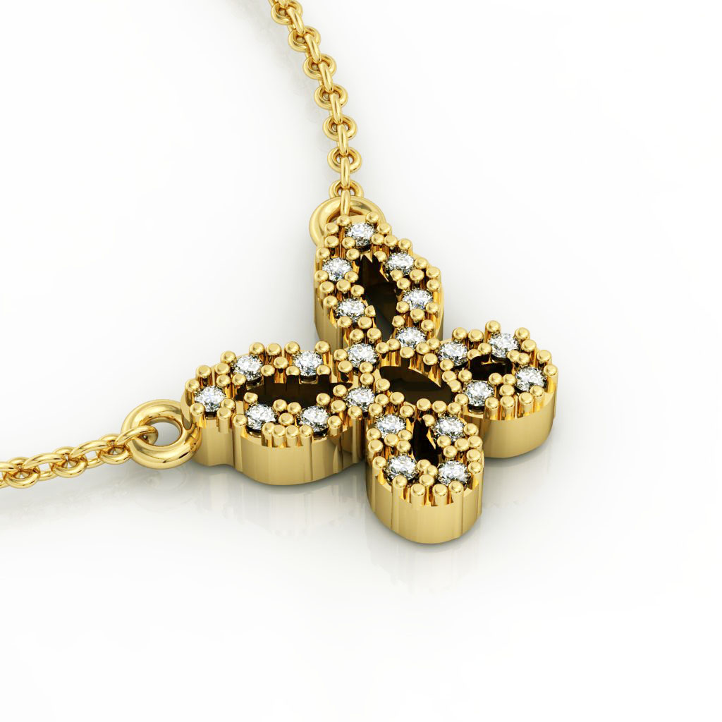 Butterfly 1 Necklace, made of 925 sterling silver / 18k gold finish with zircon