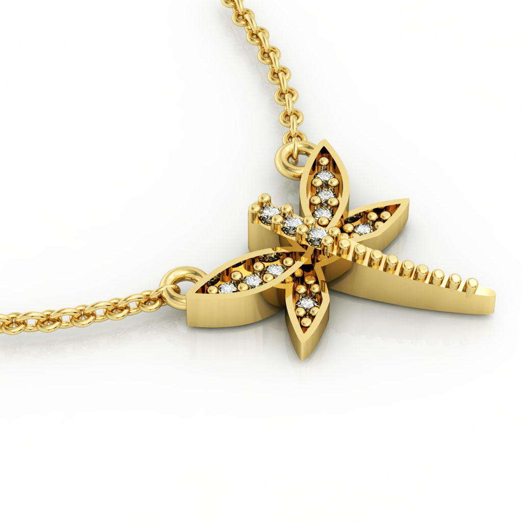 Dragonfly 1 Necklace, made of 925 sterling silver / 18k gold finish with zircon
