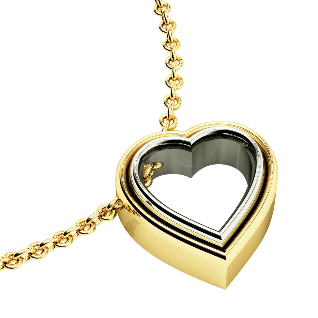 Twin Heart Necklace, made of 925 sterling silver / 18k yellow & white gold finish
