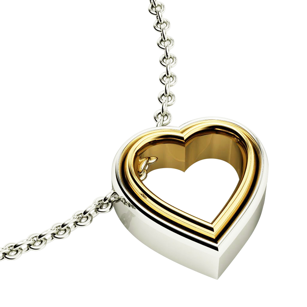 Twin Heart Necklace, made of 925 sterling silver / 18k white & yellow gold finish