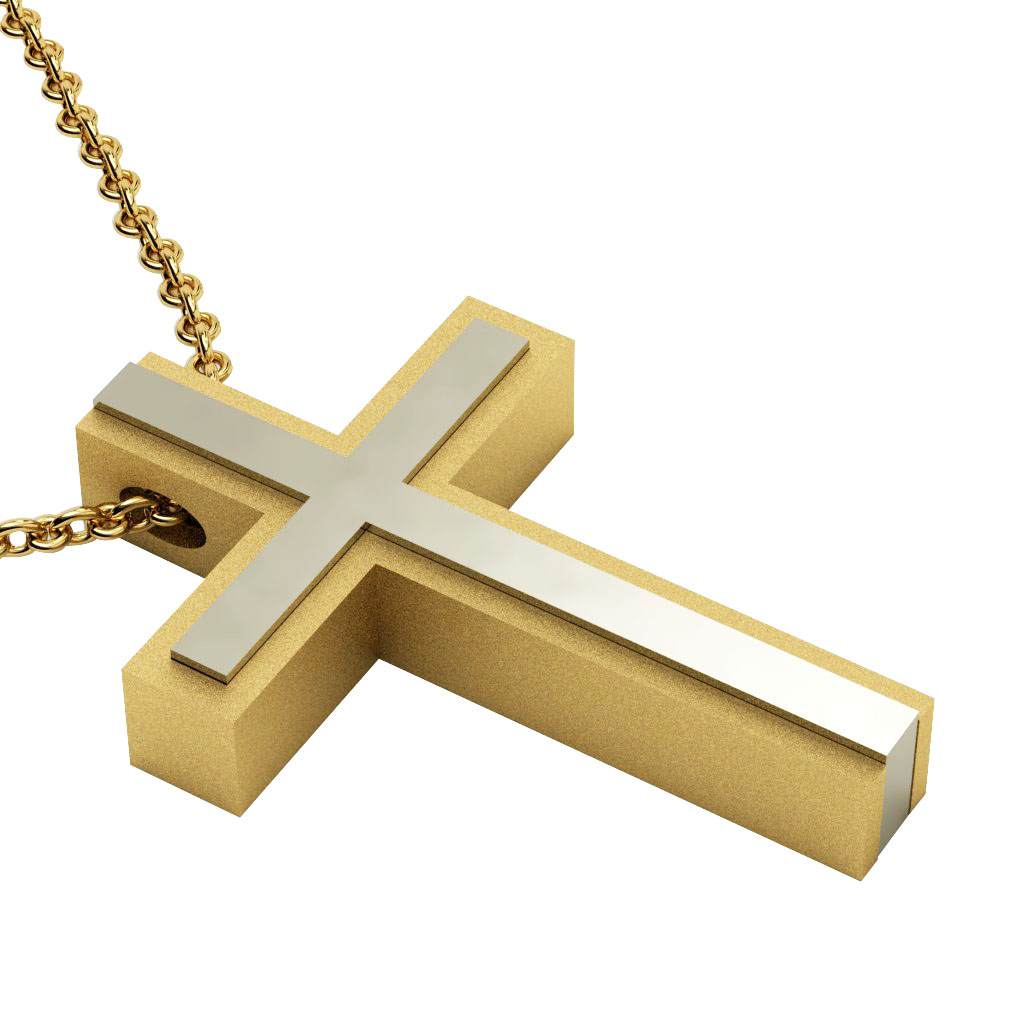 Triple Cross 7, made of 925 sterling silver / gold-white-gold