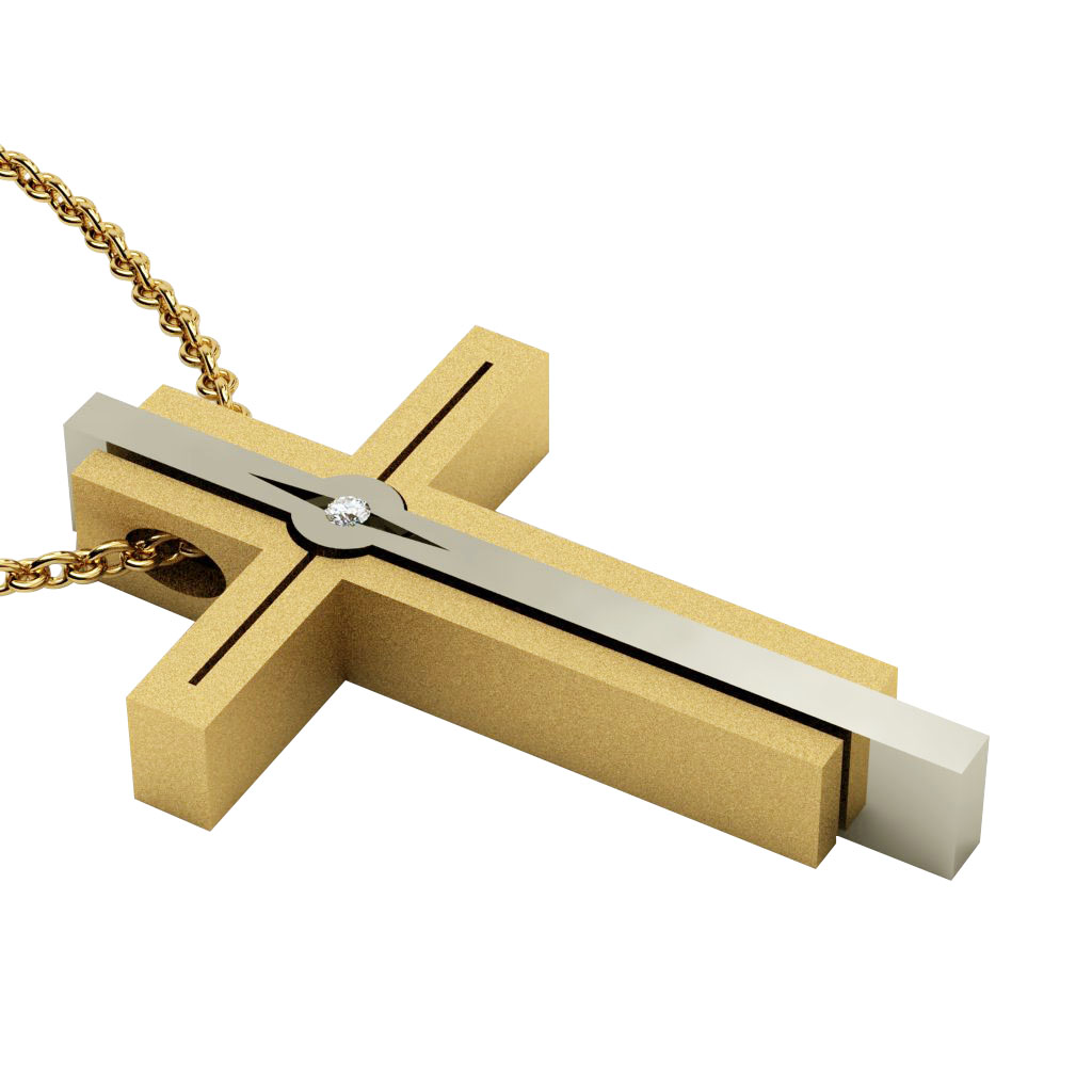 Dichromate Triple Cross 11, made of 925 sterling silver, set with a zircon  / gold-white-gold