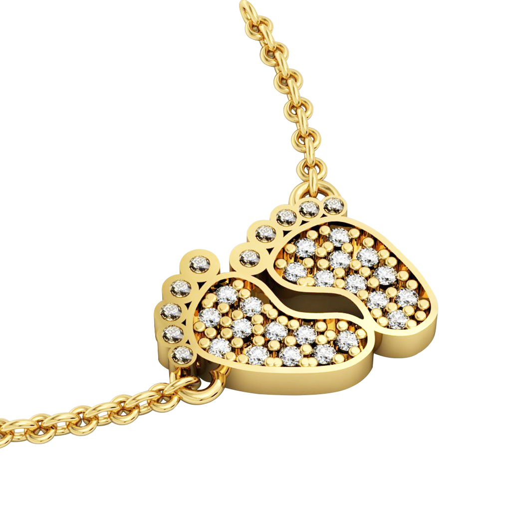 baby feet necklace, made of 925 sterling silver / 18k gold finish with white zircon
