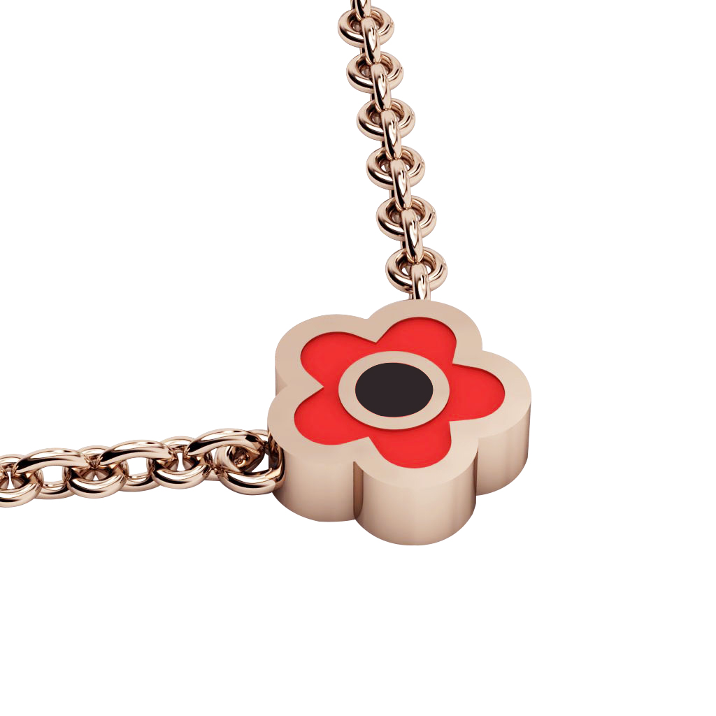 Daisy Evil Eye Necklace, made of 925 sterling silver / 18k rose gold finish with black & red enamel