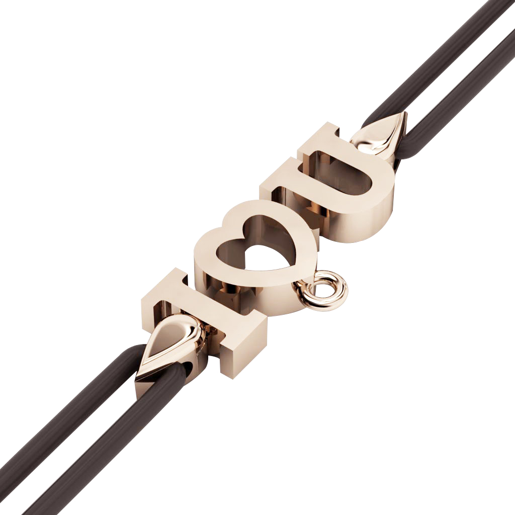 I love you Macrame Charm Bracelet,, made of 925 sterling silver / 18k rose gold finish – black cord