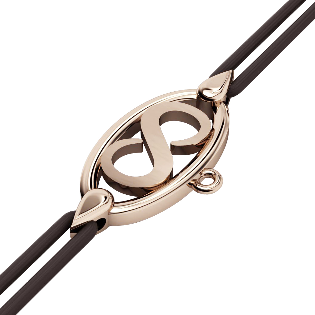 Infinity Macrame Charm Bracelet,, made of 925 sterling silver / 18k rose gold finish – black cord