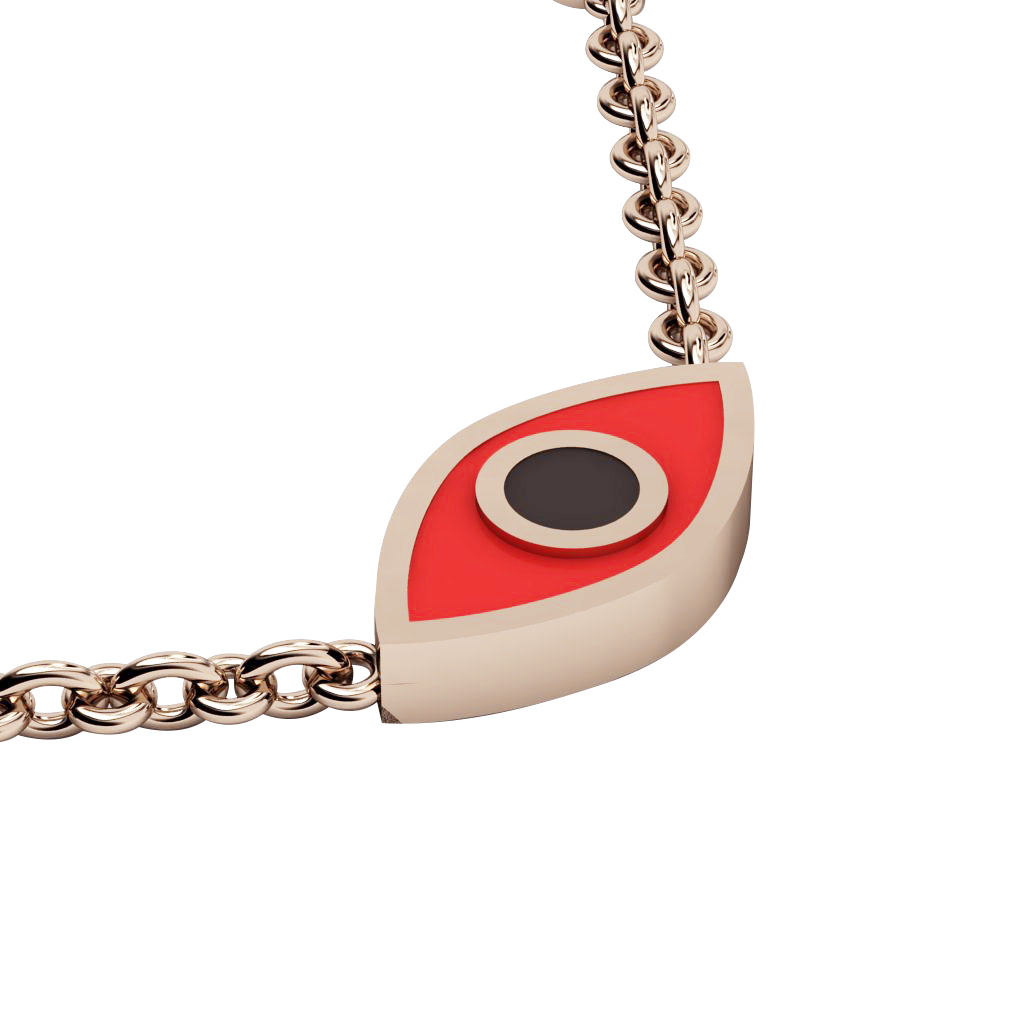 Navette Evil Eye Necklace, made of 925 sterling silver / 18k rose gold finish with black & red enamel