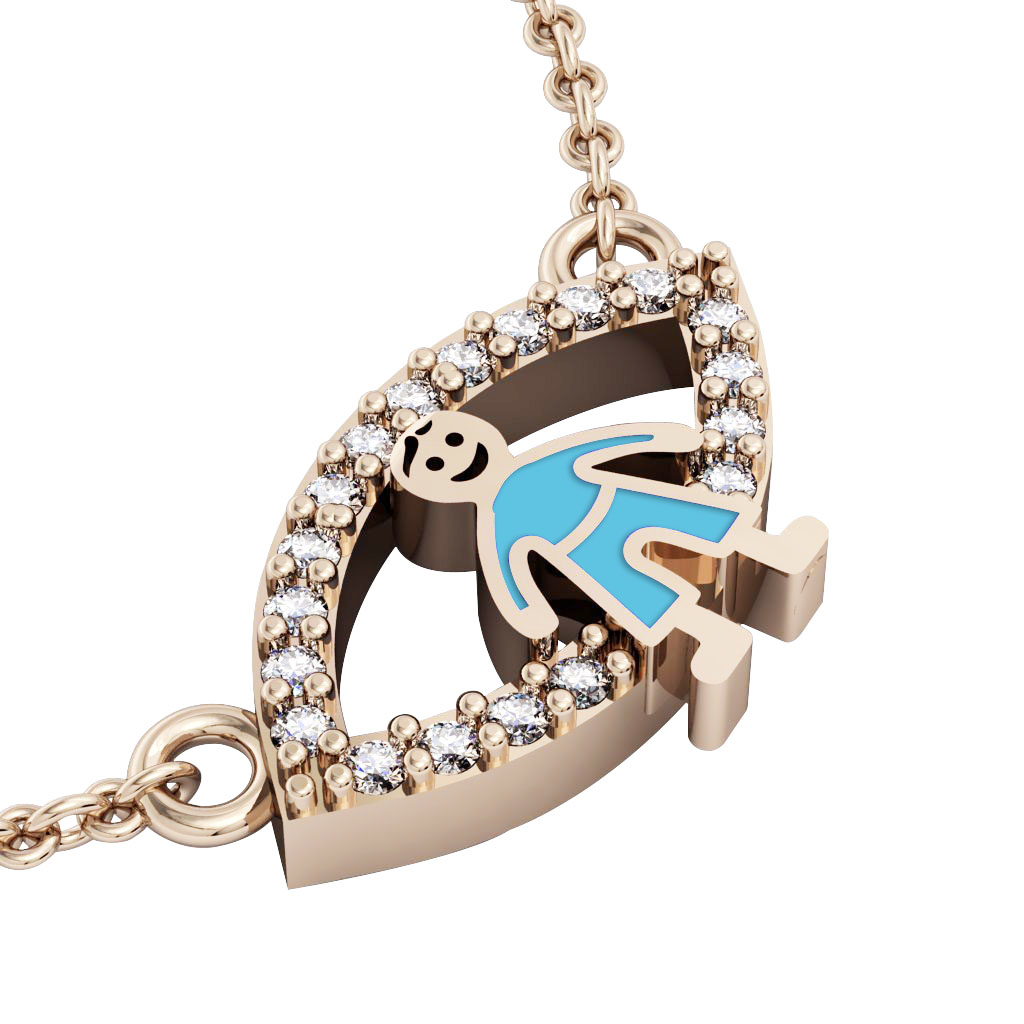 Boy Evil Eye Necklace, made of 925 sterling silver / 18k rose gold finish with turquoise enamel and white zircon
