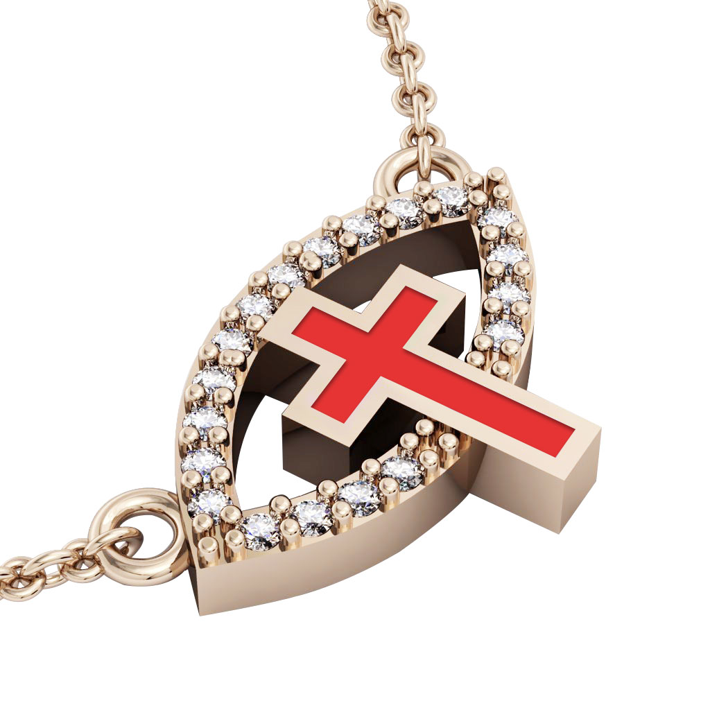 Cross Evil Eye Necklace, made of 925 sterling silver / 18k rose gold finish with red enamel and white zircon