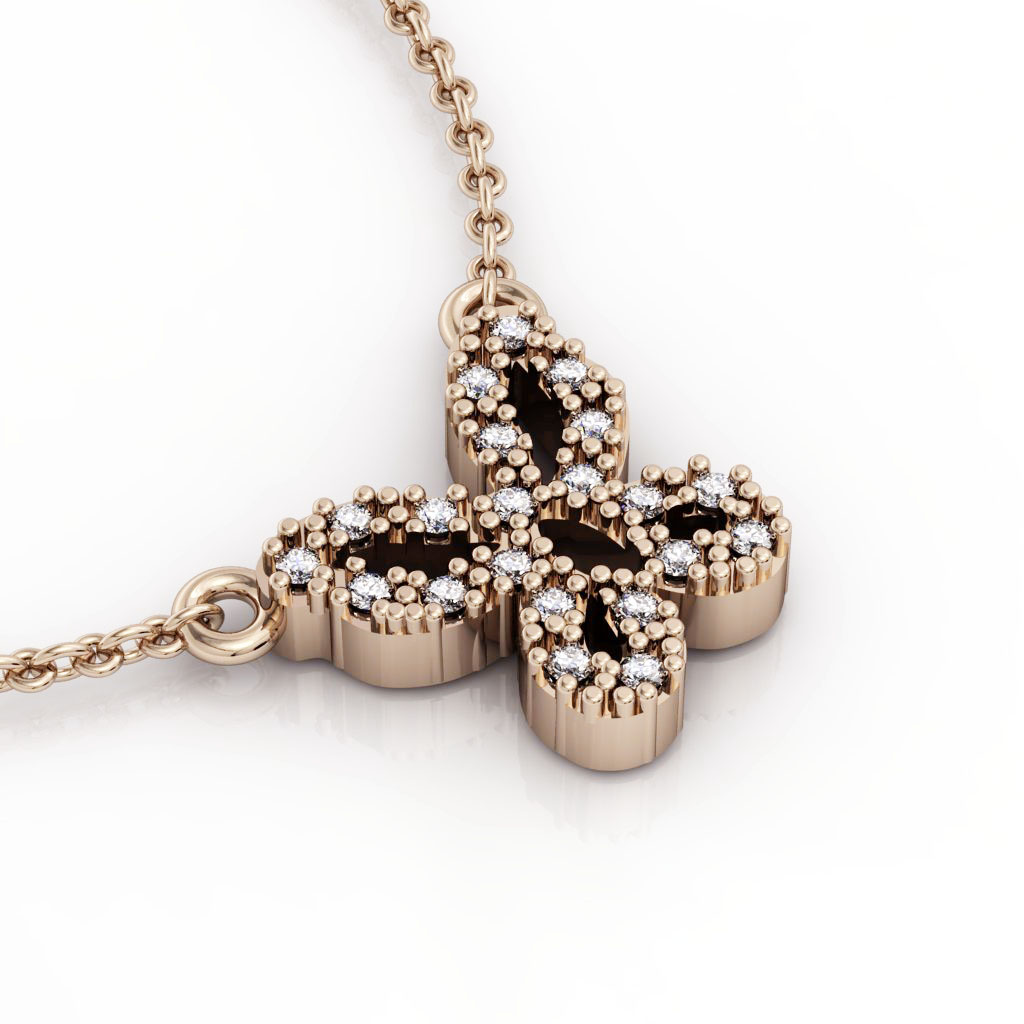 Butterfly 1 Necklace, made of 925 sterling silver / 18k rose gold finish with zircon