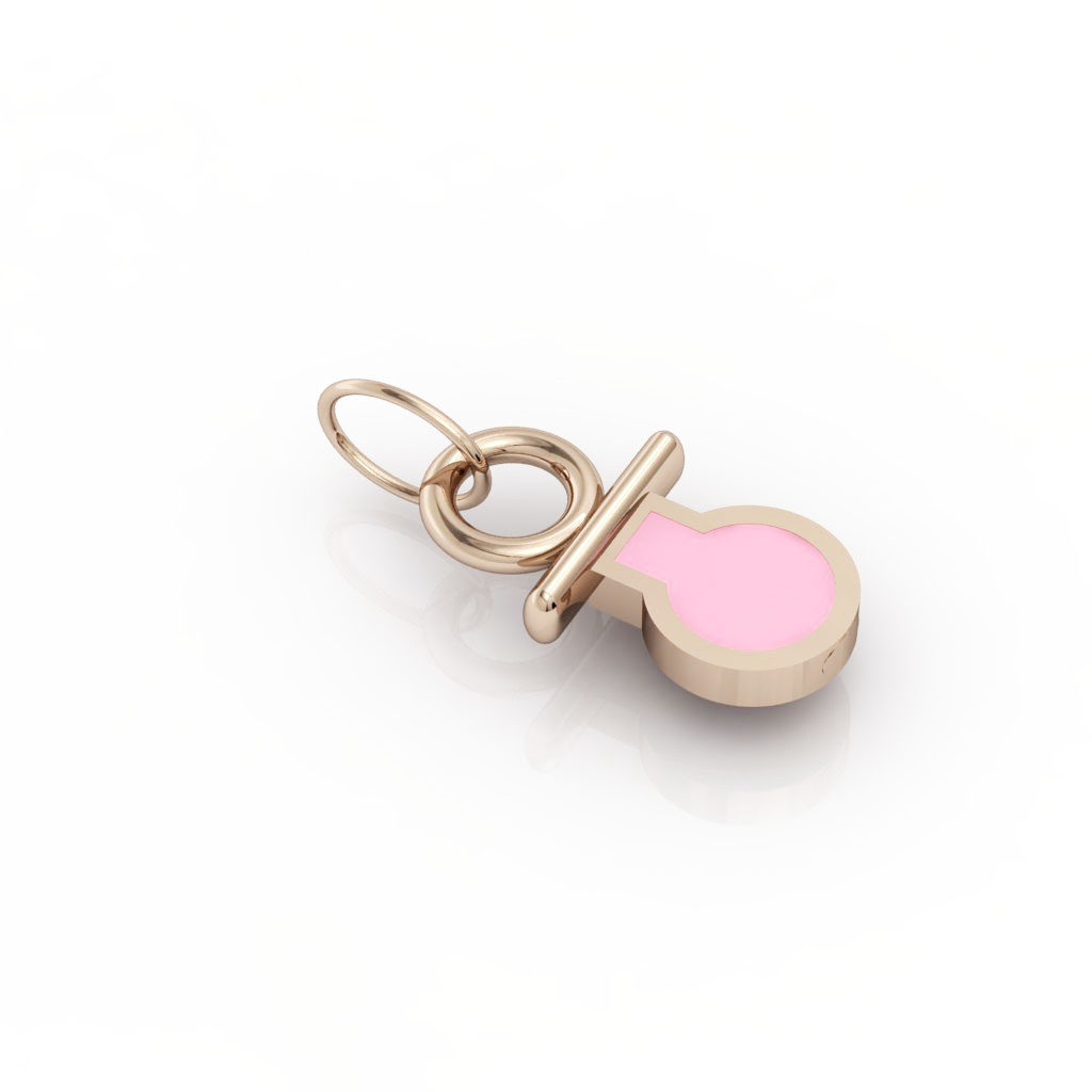 small pacifier pendant, made of 925 sterling silver / 18k rose gold finish with pink enamel