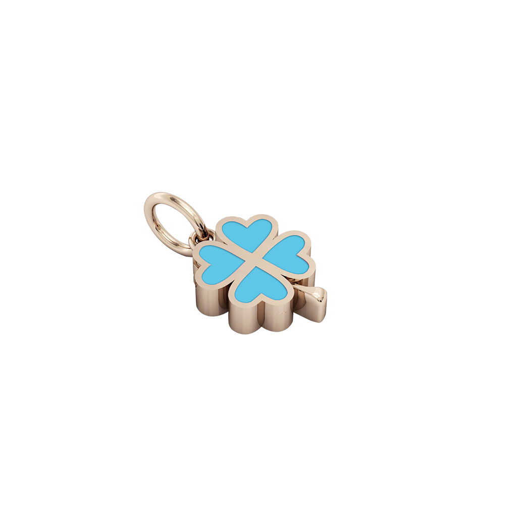 quatrefoil pendant, made of 925 sterling silver / 18k rose gold finish with turquoise enamel