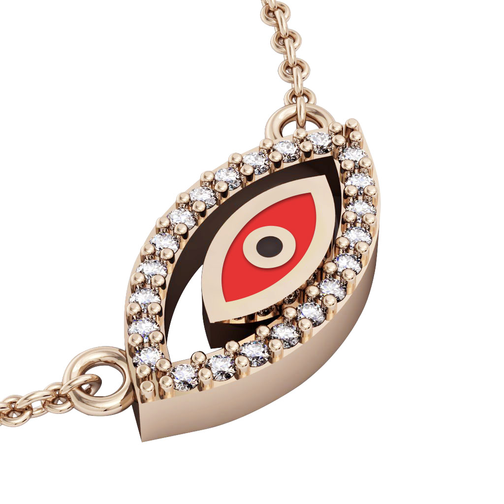 Twin Evil Eye Necklace, made of 925 sterling silver / 18k rose gold finish with red enamel and white zircon