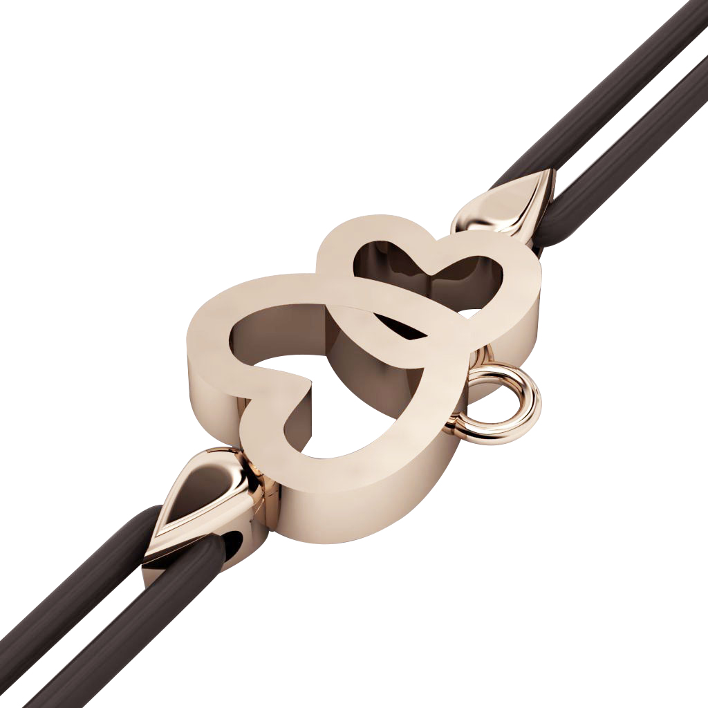 Double Heart Macrame Charm Bracelet,, made of 925 sterling silver / 18k rose gold finish – black cord