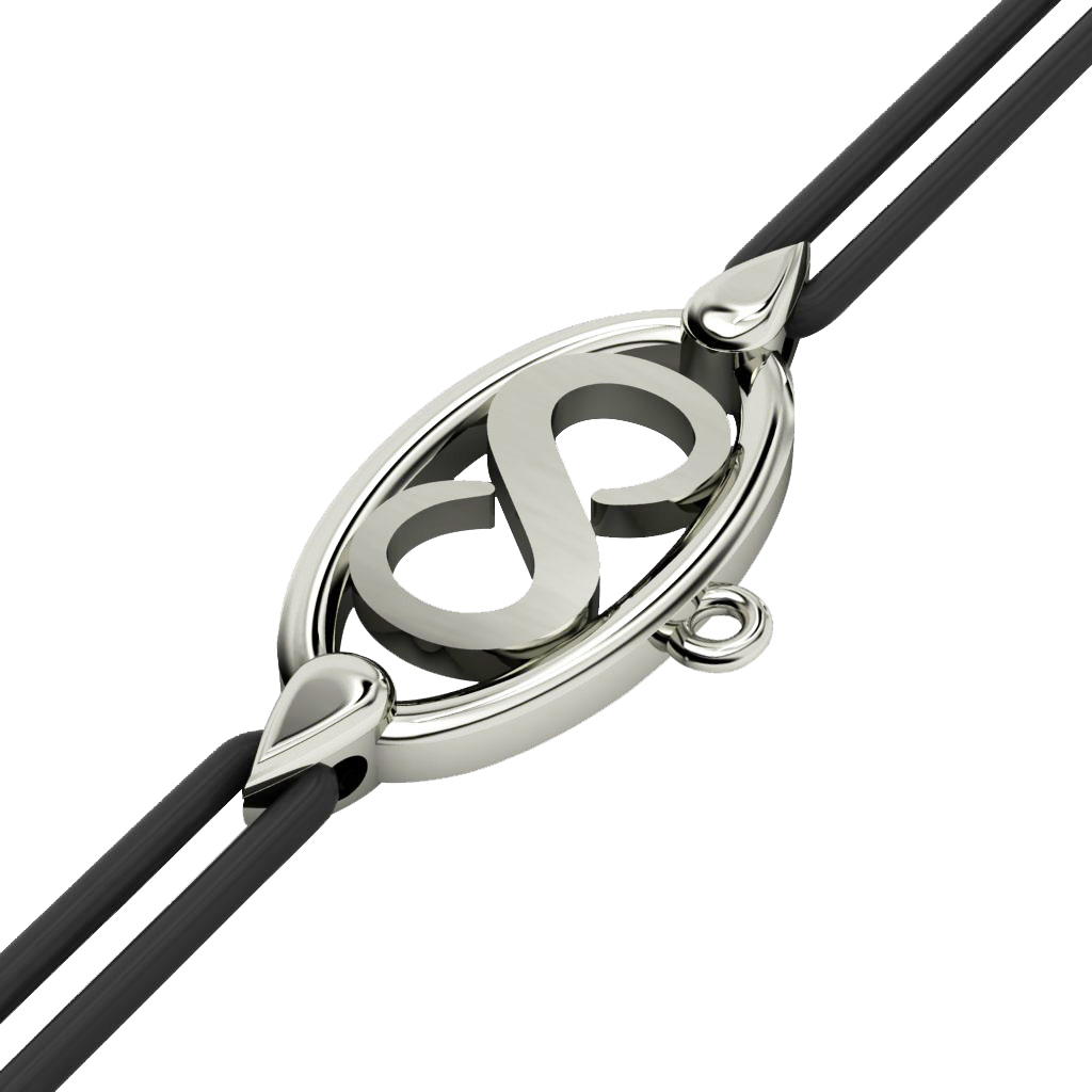 Infinity Macrame Charm Bracelet,, made of 925 sterling silver / 18k white gold finish – black cord