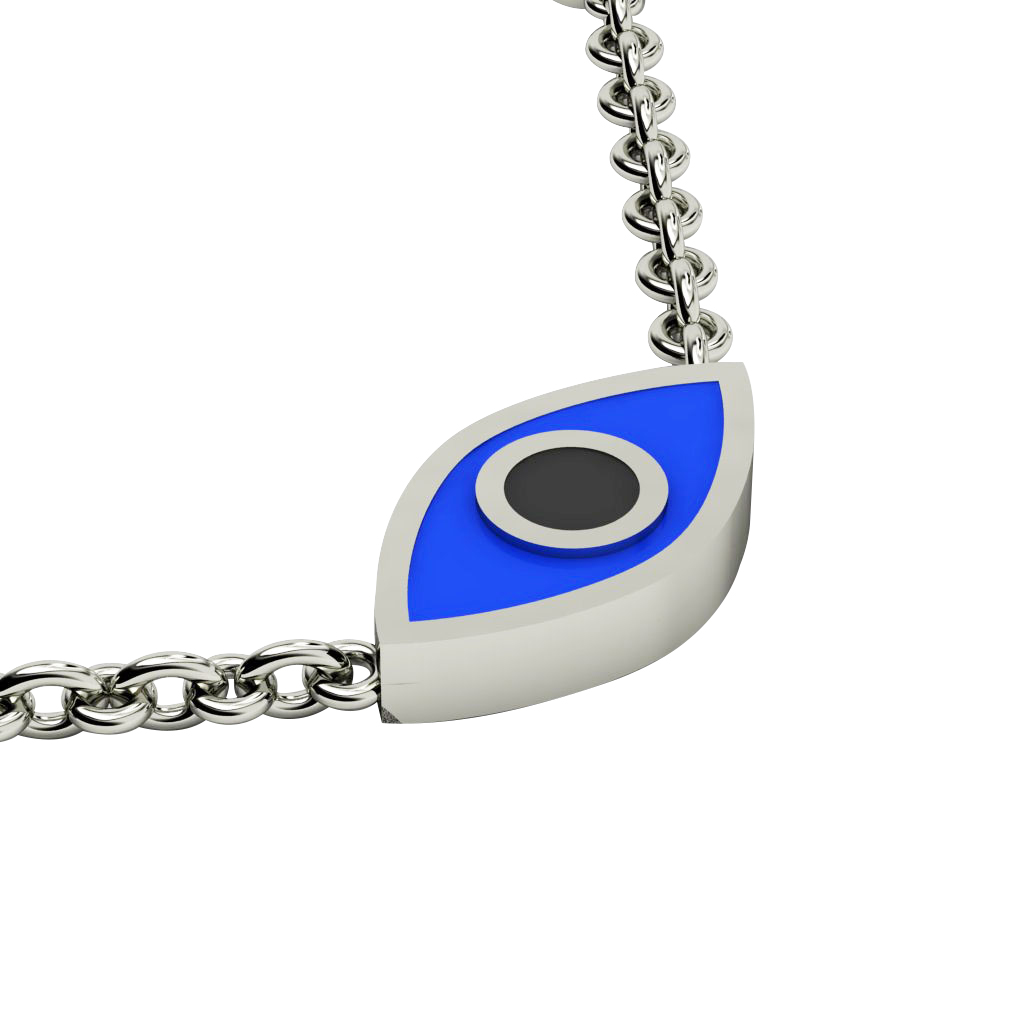 Navette Evil Eye Necklace, made of 925 sterling silver / 18k white gold finish with black & blue enamel