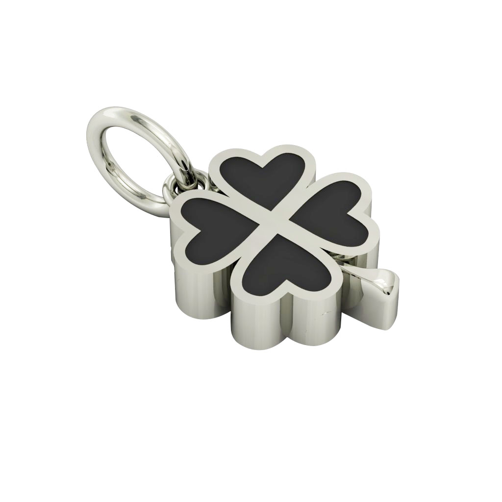 Big Quatrefoil Pendant, made of 925 sterling silver / 18k white gold finish with black enamel
