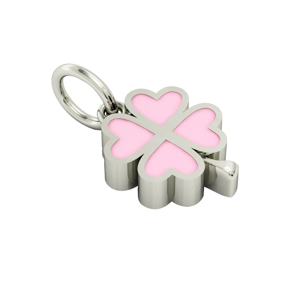 Big Quatrefoil Pendant, made of 925 sterling silver / 18k white gold finish with pink enamel