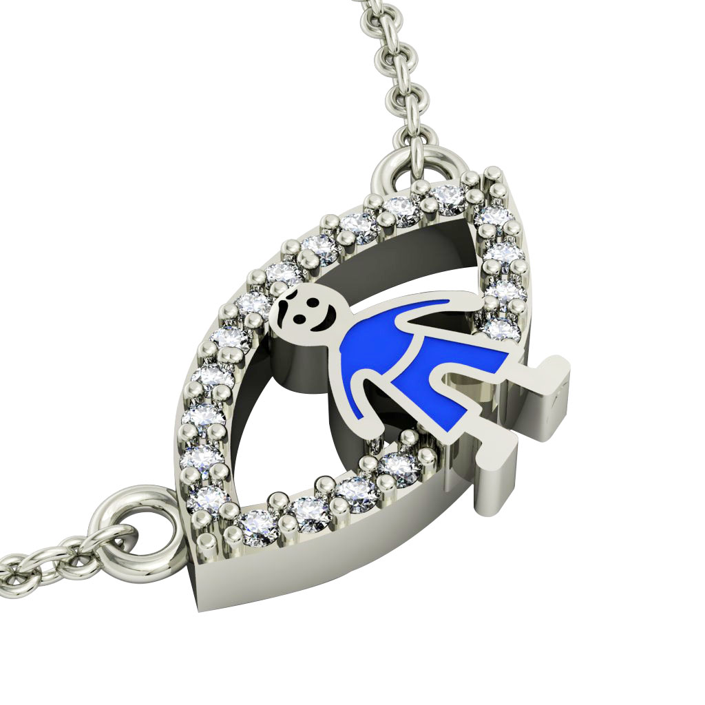 Boy Evil Eye Necklace, made of 925 sterling silver / 18k white gold finish with blue enamel and white zircon