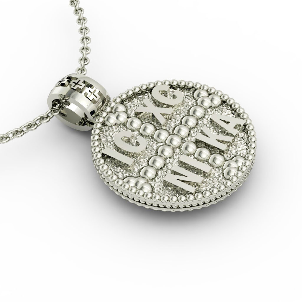 Constantine the Great Coin Pendant 17, made of 925 sterling silver / 18k gold finish / front side