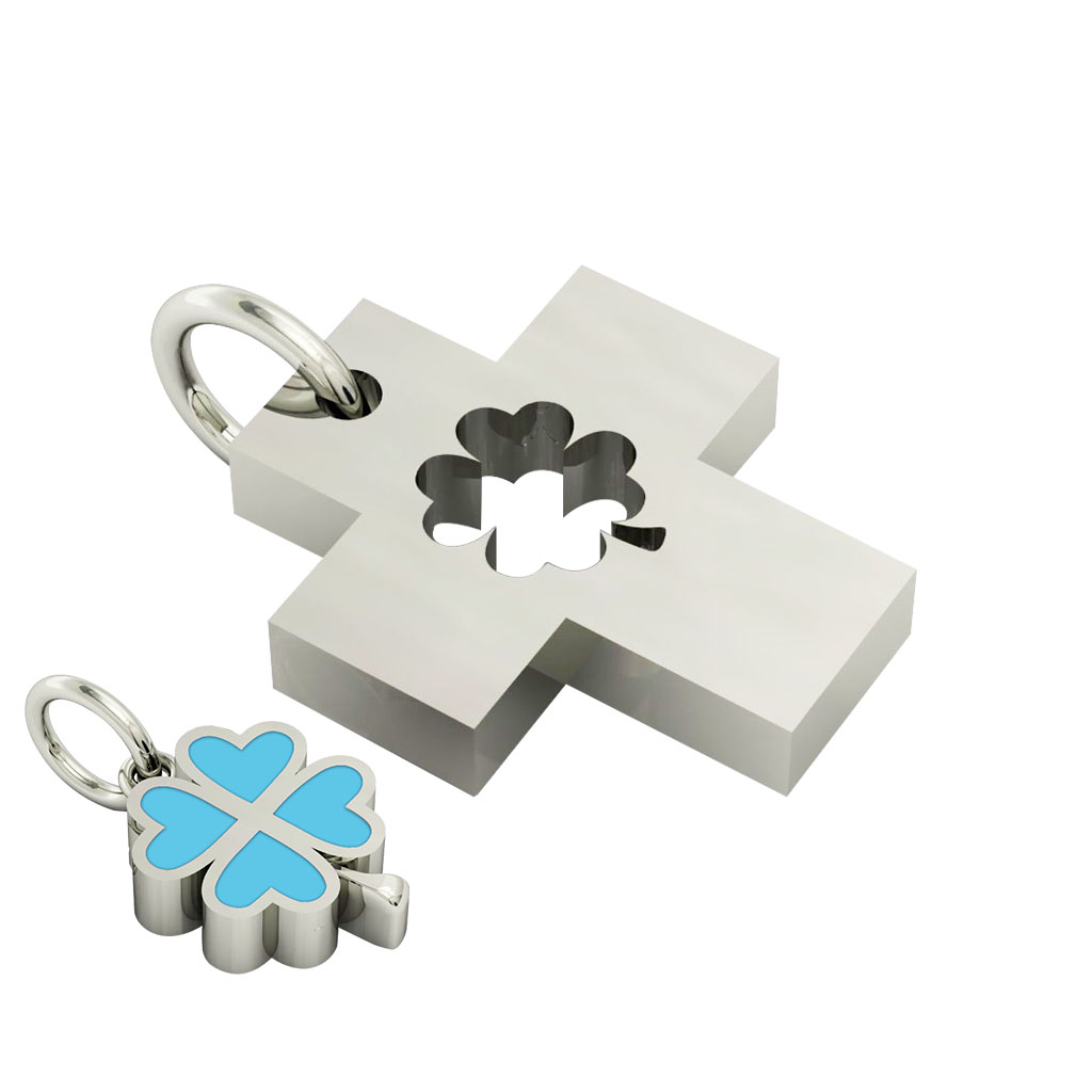 little cross with quatrefoil, cobo pendant, made of 925 sterling silver with turquoise enamel / 22
