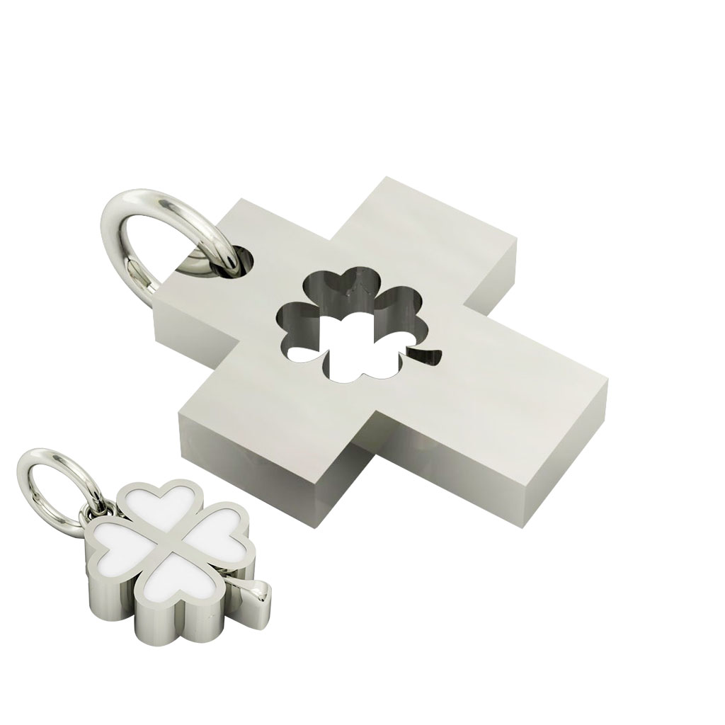 little cross with quatrefoil, cobo pendant, made of 925 sterling silver with white enamel / 22