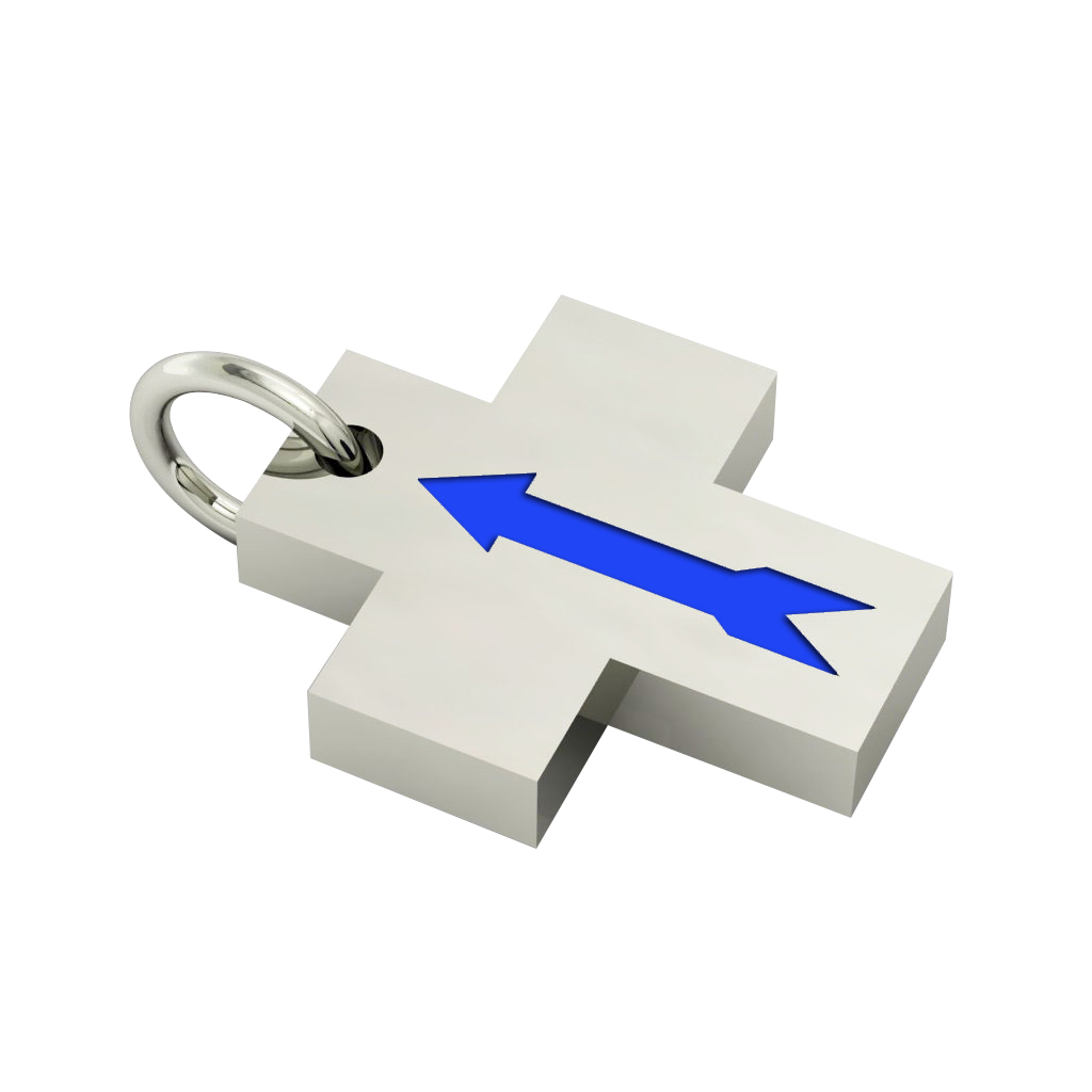Little Cross with an internal enamel Arrow, made of 925 sterling silver / 18k white gold finish with blue enamel