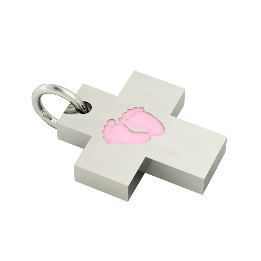 Little Cross with internal enamel Baby Feet, made of 925 sterling silver / 18k white gold finish with pink enamel
