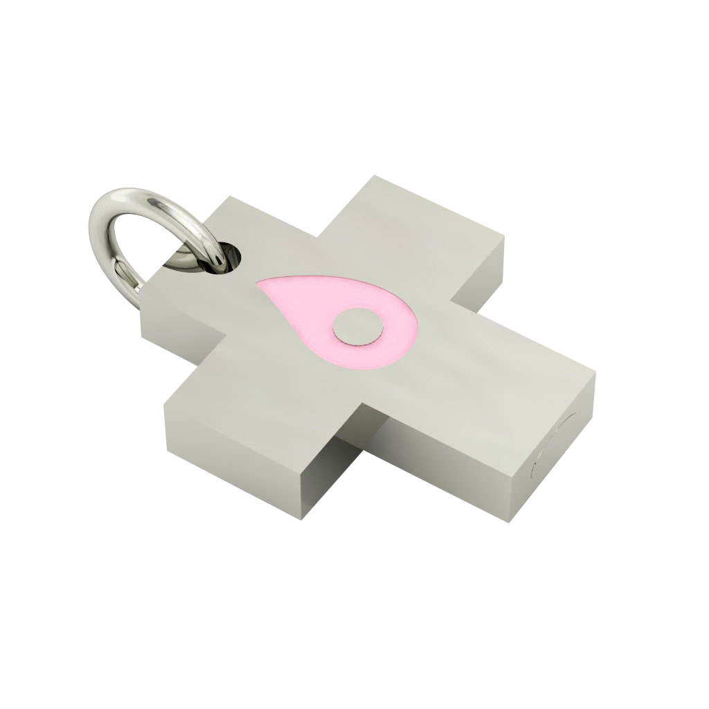 Little Cross with an internal enamel Drop Evil Eye, made of 925 sterling silver / 18k white gold finish with pink enamel