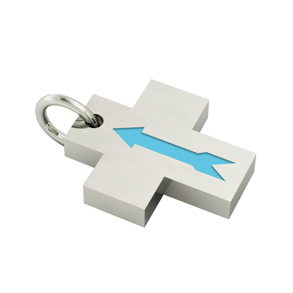 Little Cross with an internal enamel Arrow, made of 925 sterling silver / 18k white gold finish with turquoise enamel