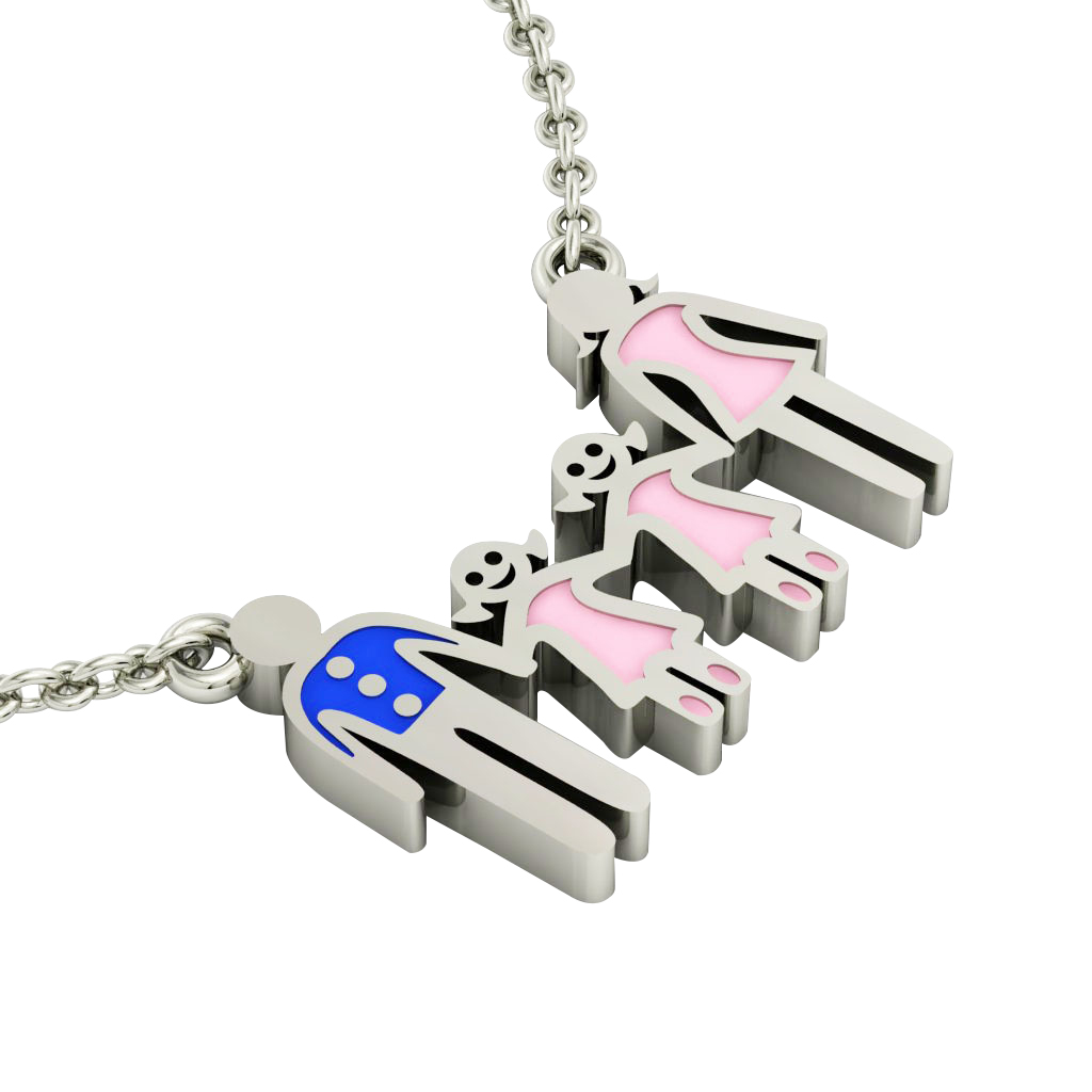 4-members Family necklace, father – 2 daughters – mother, made of 925 sterling silver / 18k white gold finish with blue and pink enamel