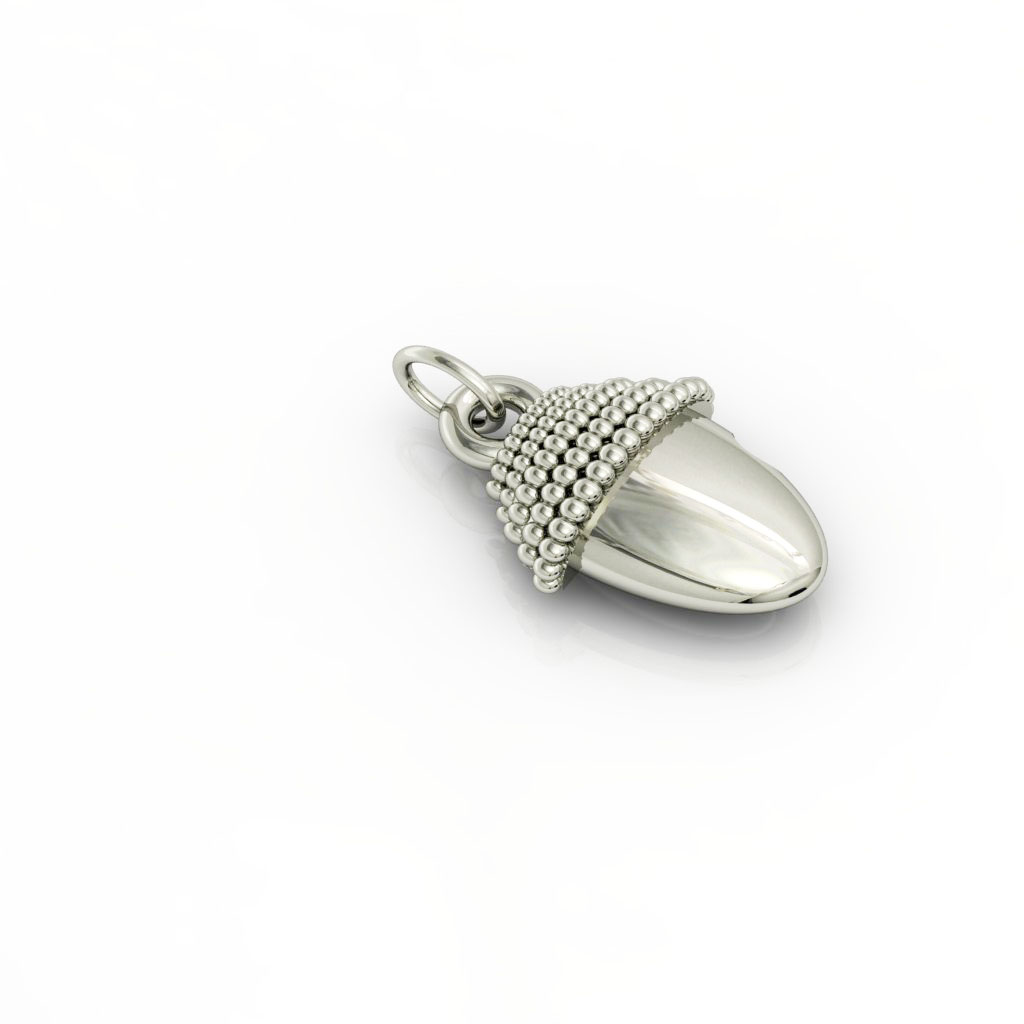 Small Acorn pendant, made of 925 sterling silver / 18k white gold finish