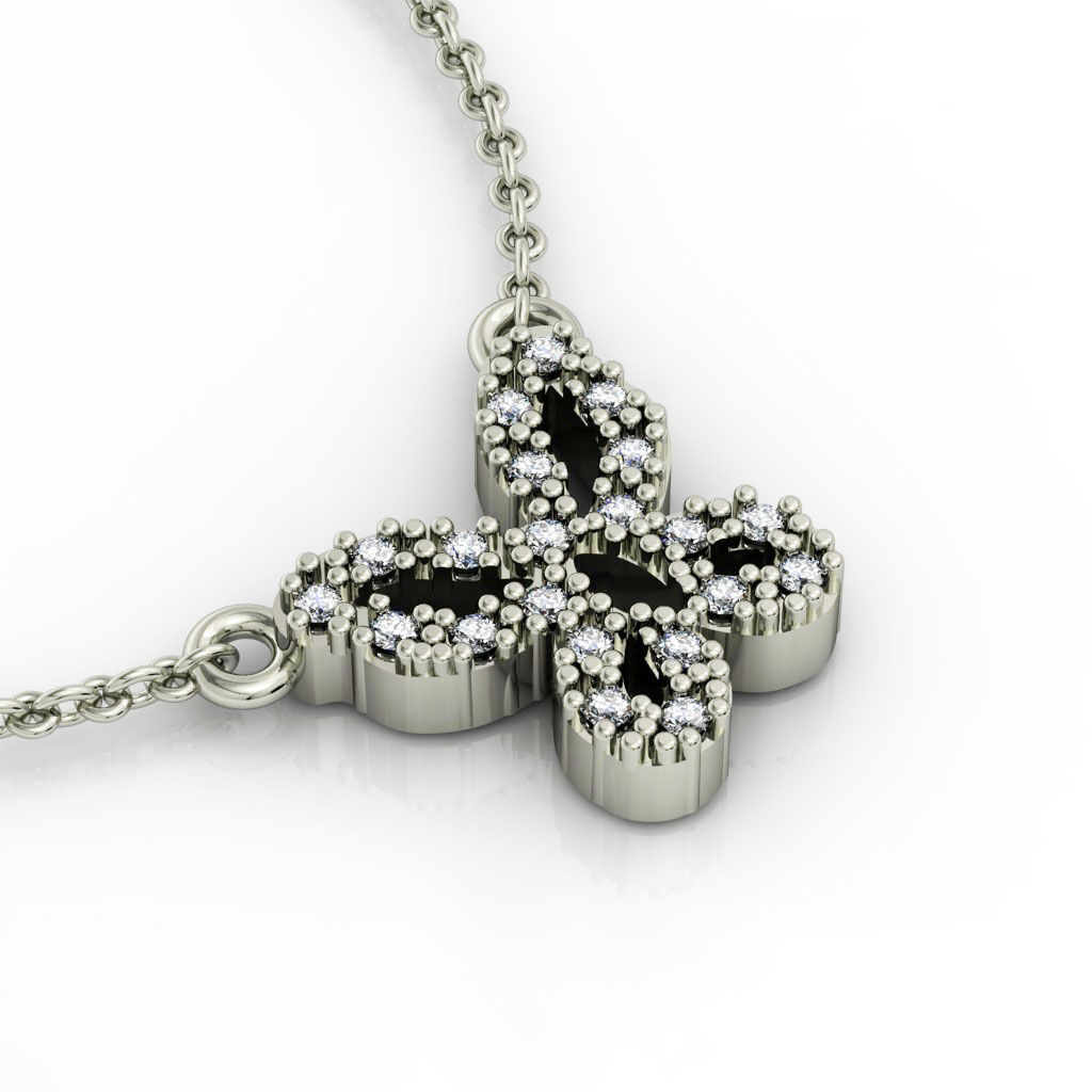 Butterfly 1 Necklace, made of 925 sterling silver / 18k white gold finish with zircon