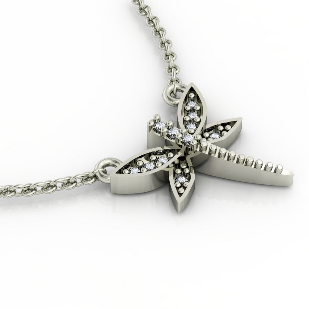 Dragonfly 1 Necklace, made of 925 sterling silver / 18k white gold finish with zircon