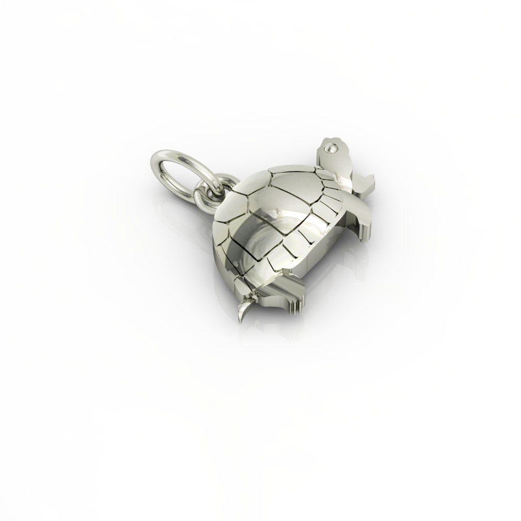 Little Tortoise pendant, made of 925 sterling silver / 18k white gold finish