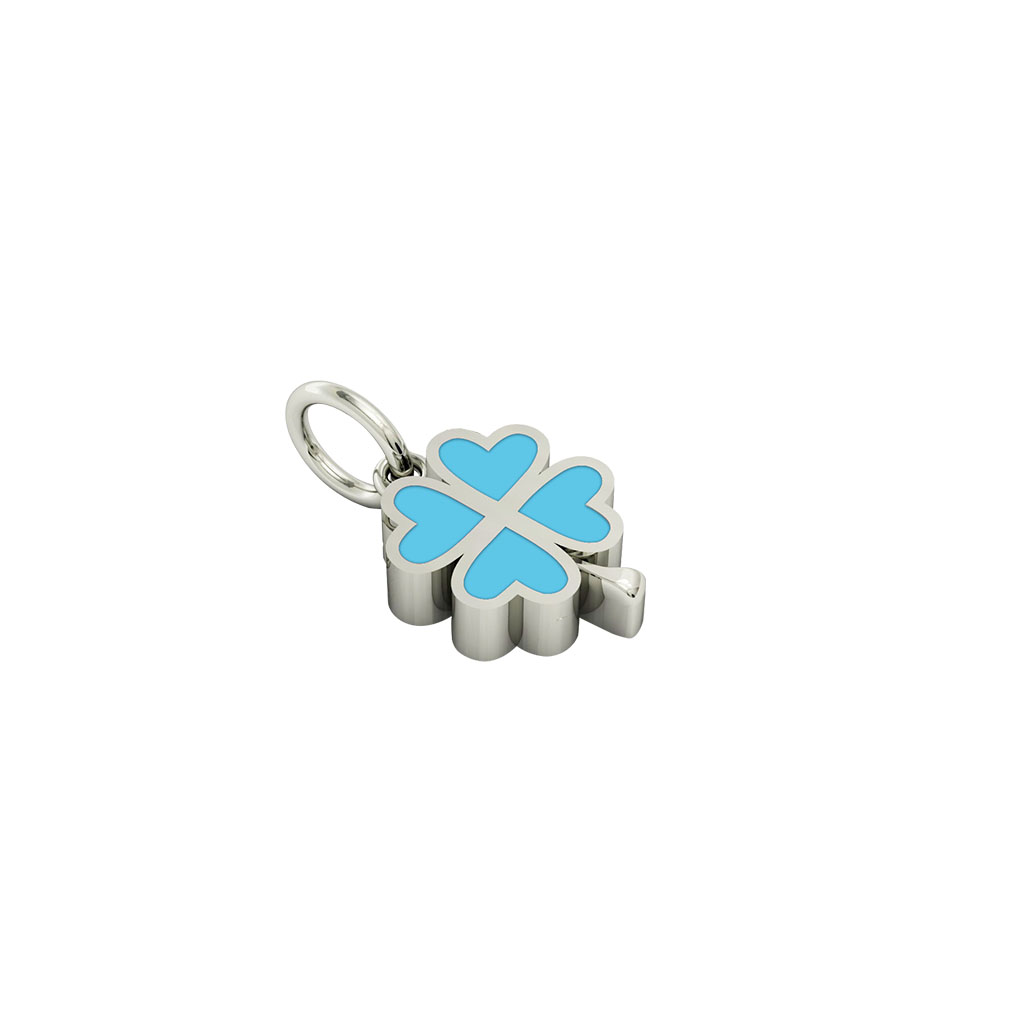 quatrefoil pendant, made of 925 sterling silver / 18k white gold finish with turquoise enamel