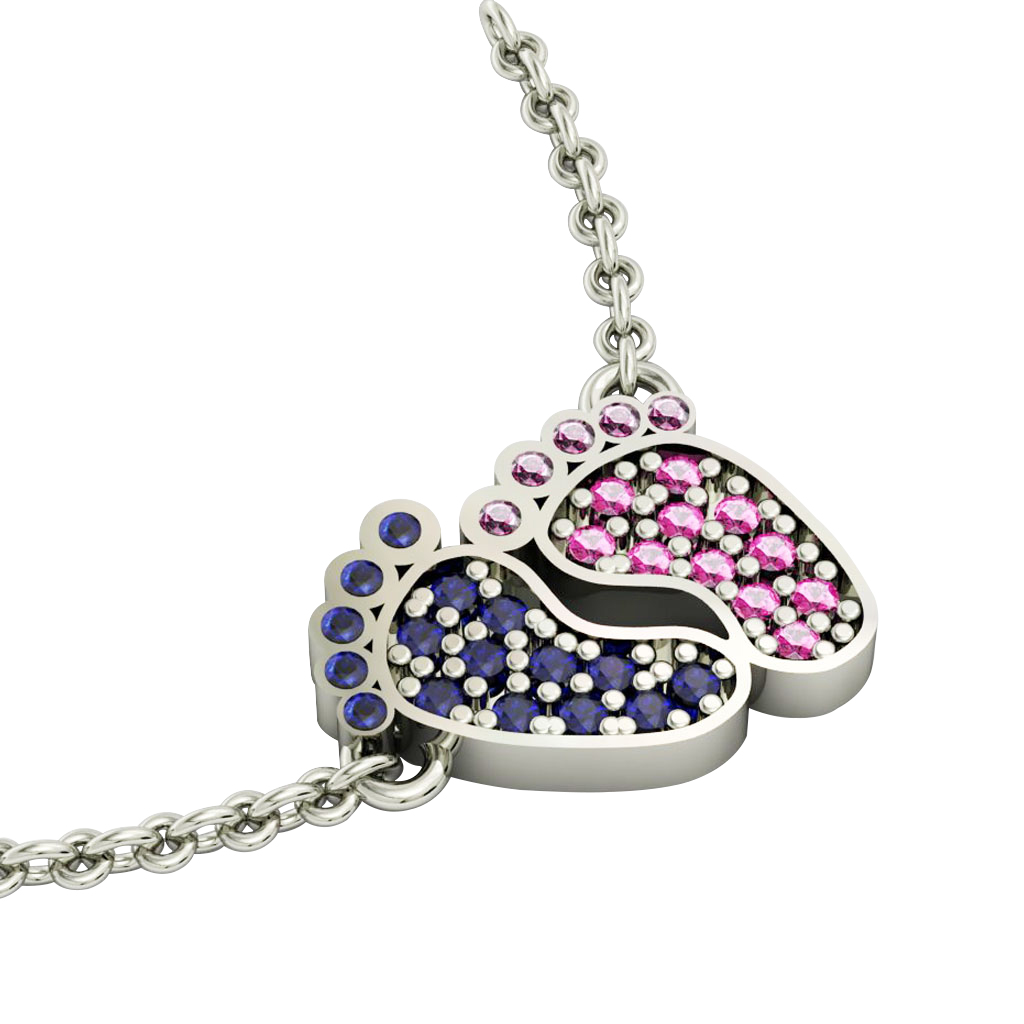 baby feet necklace, made of 925 sterling silver / 18k white gold finish with blue and pink zircon